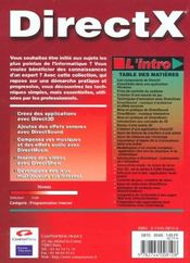 L'Intro Directx - 4ème de couverture - Format classique
