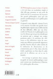 Vingt philosophes pour le Bac et après - 4ème de couverture - Format classique