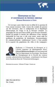 Géopolitique de l'eau et gouvernance en province orientale ; République Démocratique du Congo - 4ème de couverture - Format classique