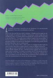 La Politique Economique Aujourd'Hui - 4ème de couverture - Format classique