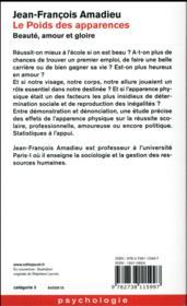 Le Poids Des Apparences - 4ème de couverture - Format classique