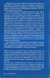 La reconstruction du parti radical ; 1944-1948 - 4ème de couverture - Format classique