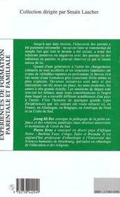 Experiences De Formation Parentale Et Familiale - 4ème de couverture - Format classique