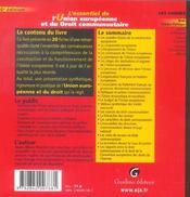 Essentiel De L'Union Europeenne Et Du Droit Communautaire, 6eme Edition (L') - 4ème de couverture - Format classique