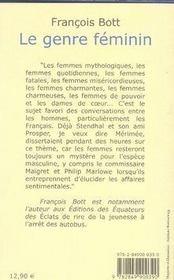 Le Genre Feminin - 4ème de couverture - Format classique