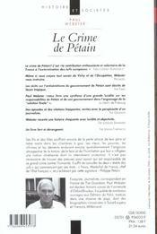 Les Crimes De Petain - 4ème de couverture - Format classique