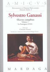 Sylvestro Ganassi - Oeuvres Completes Volume 1 - Intérieur - Format classique