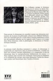Lectures chronotopiques - 4ème de couverture - Format classique