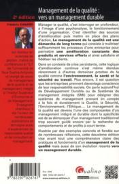 Management de la qualité ; vers un management durable (2e édition) - 4ème de couverture - Format classique