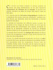 Des Musiciens De A A Z Du Ive Au Xixe Siecle - 4ème de couverture - Format classique