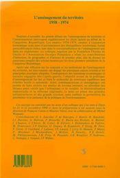 L'Amenagement Du Territoire 1958-1974 - 4ème de couverture - Format classique