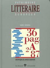Patrimoine Litteraire Europeen ; Index Général - Intérieur - Format classique