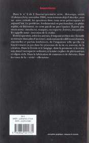 Revue L'Inactuel 11 - Impostures - 4ème de couverture - Format classique