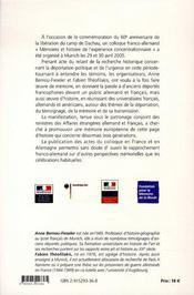 Dachau, mémoires et histoire de la déportation ; regards franco-allemands - 4ème de couverture - Format classique