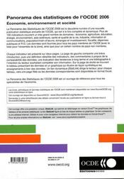 Panorama des statistiques de l'ocde 2006 : économie, environnement et société - 4ème de couverture - Format classique