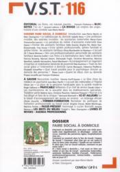 Revue Vst N.116 ; Faire Social A Domicile - 4ème de couverture - Format classique