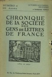 CHRONIQUE DE LA SOCIETE DES GENS DE LETTRES DE FRANCE N°4, 95e ANNEE ( 4e TRIMESTRE 1960) - Couverture - Format classique