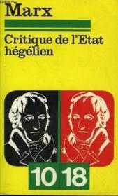 Critique De L'Etat Hegelien Manuscrit De 1843. - Couverture - Format classique