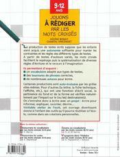 Jouons à rédiger par les mots croisés ; 9/12 ans - 4ème de couverture - Format classique
