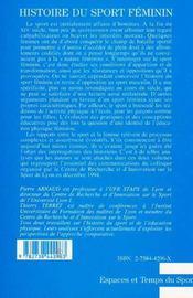 Histoire du sport féminin t.1 ; histoire et identité - 4ème de couverture - Format classique