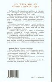 Le Lacher Prise En Mediation Therapeutique - 4ème de couverture - Format classique