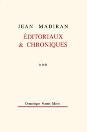 Editoriaux et chroniques t.3 - Couverture - Format classique