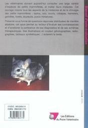 Pratique Clinique Des Petits Mammiferes - 4ème de couverture - Format classique