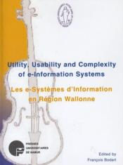 Utility, usability and complexity of e-information systems - Couverture - Format classique