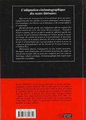 L'Adaptation Cinematographique Des Textes Litteraires : Theories Et Lectures - 4ème de couverture - Format classique