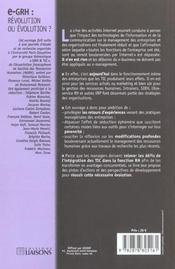 E-Grh ; Revolution Ou Evolution - 4ème de couverture - Format classique
