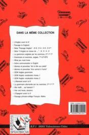 QCM anglais grammaire - 4ème de couverture - Format classique
