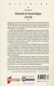 Modernités de l'ancien régime (1750-1789) - 4ème de couverture - Format classique
