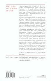 Tout Sur La Psychologie Du Chat - 4ème de couverture - Format classique