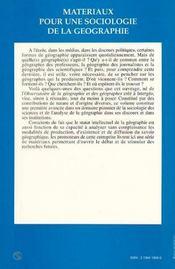 Materiaux Pour Une Sociologie De La Geographie - 4ème de couverture - Format classique