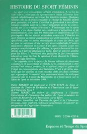 Histoire du sport féminin t.2 - 4ème de couverture - Format classique
