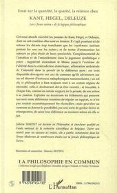 Essai Sur La Quantite, La Qualite, La Relation Chez Kant, Hegel, Deleuze - 4ème de couverture - Format classique