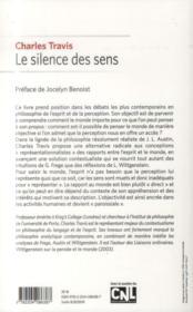 Le silence des sens - 4ème de couverture - Format classique