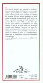La France Est Elle Encore Une Grande Puissance - 4ème de couverture - Format classique