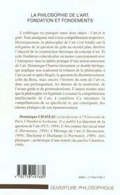 La Philosophie De L'Art ; Fondation Et Fondements - 4ème de couverture - Format classique