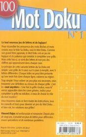 100 mot doku. 1. 100 mot doku. des jeux de mots logiques et diaboliques ! - 4ème de couverture - Format classique