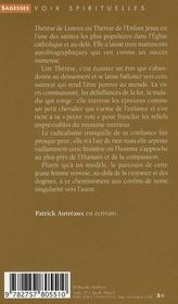 Thérèse de Lisieux ; la confiance - 4ème de couverture - Format classique