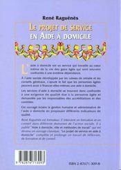 Le Projet De Service En Aide A Domicile ; Ameliorer La Qualite Des Services Rendus Aux Personnes Agees - 4ème de couverture - Format classique