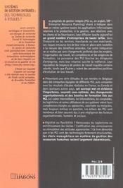 Pgi-Erp : Quels Impacts Sur L'Organisation Du Travail ? - 4ème de couverture - Format classique