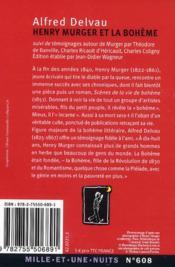 Henri Murger et la bohème - 4ème de couverture - Format classique