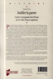 Justifier la guerre ; censure et propagande dans l'Europe du XVIIe siècle (France-Angleterre) - 4ème de couverture - Format classique