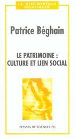 Le Patrimoine Culture Et Lien Social - Intérieur - Format classique