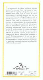 Le Patrimoine Culture Et Lien Social - 4ème de couverture - Format classique