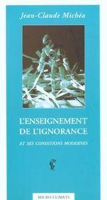 L'enseignement de l'ignorance et ses conditions modernes - Intérieur - Format classique