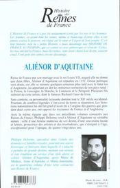 Alienor D'Aquitaine - 4ème de couverture - Format classique