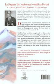 La Sagesse Du Moine Qui Vendit Sa Ferrari - Les Huit Rituels Des Leaders Visionnaires - 4ème de couverture - Format classique